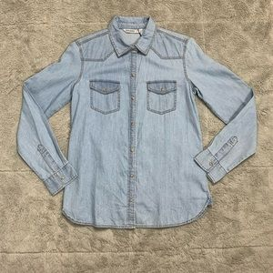 Zara denim snap button down jean shirt